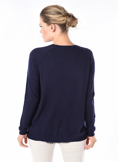 Optique Knitwear Düz V Yaka Uzun Kol Triko Hırka Lacivert